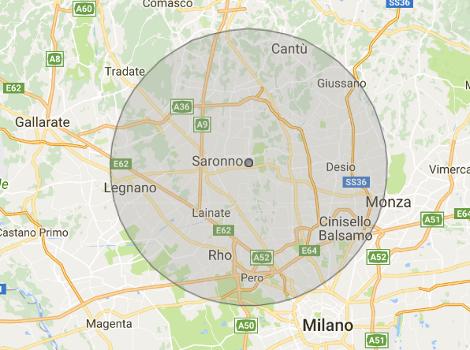 mappa consegne entro 15 km